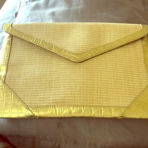 Handbags - Tan and gold large clutch